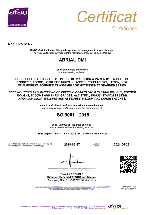 CERTIFICAT ISO 9001 Abrial